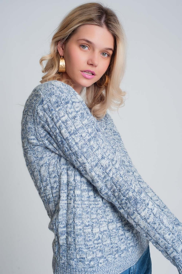 Cable knit sweater with round neck in blue
