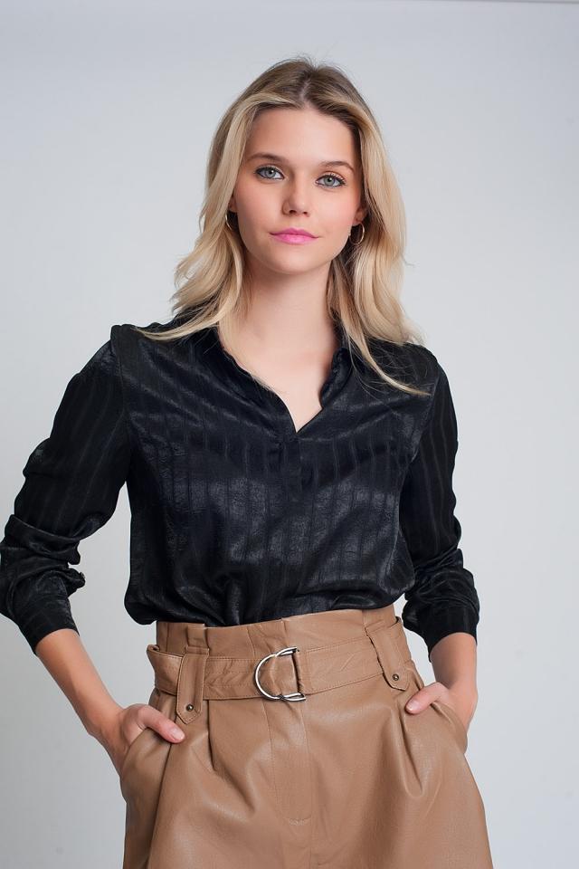 Long sleeve satin striped shirt in black