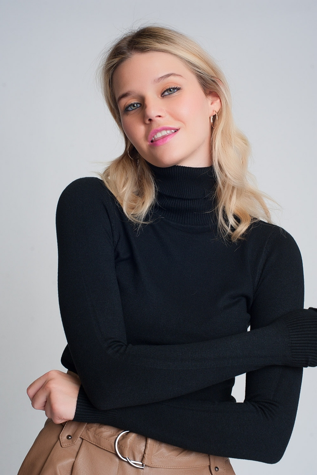 Essentials roll neck jumper in black