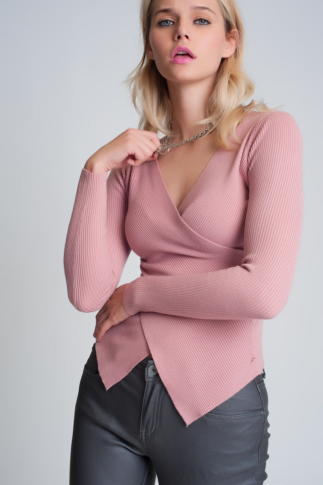 Pink ribbed wrap sweater with v-neck