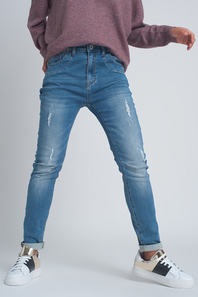 Fine denim ripped boyfriend jean in mid wash