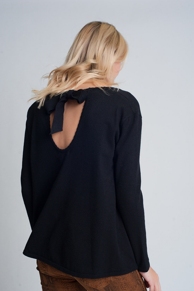 Open tie back jumper with long sleeves and v neck in black