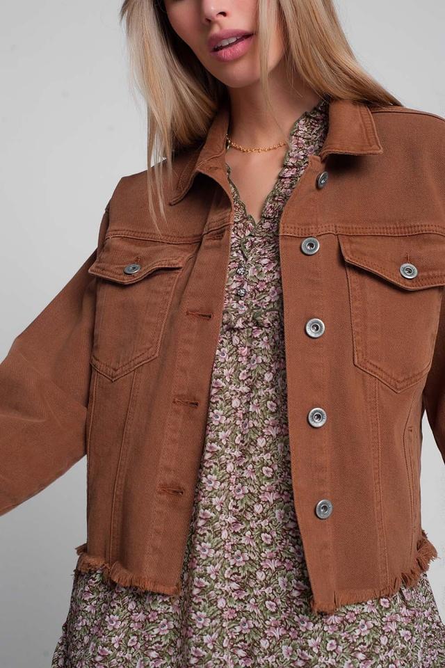Raw hem denim jacket in brown