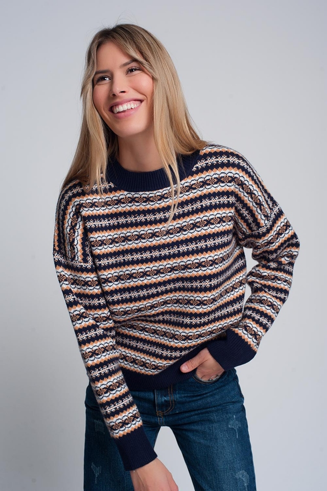 Retro pattern knitted jumper in navy