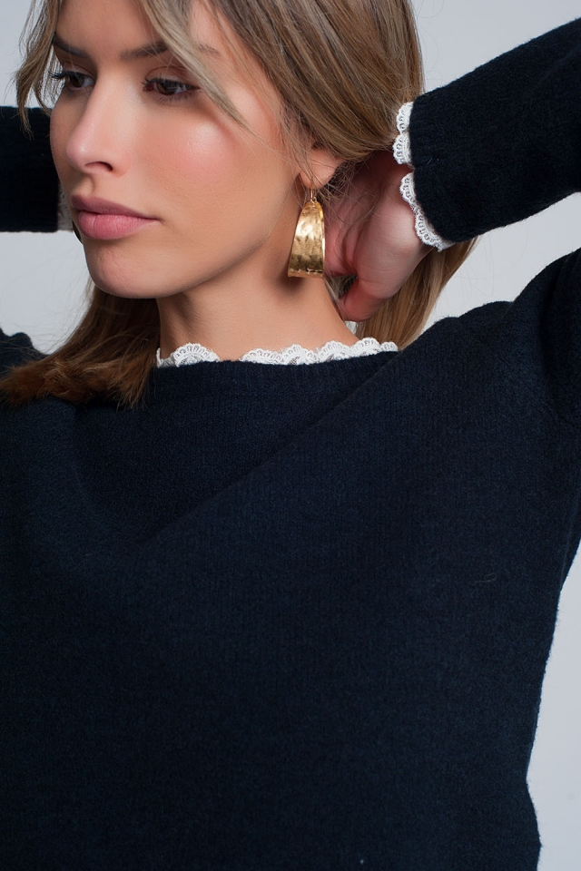 Lace detail jumper in navy
