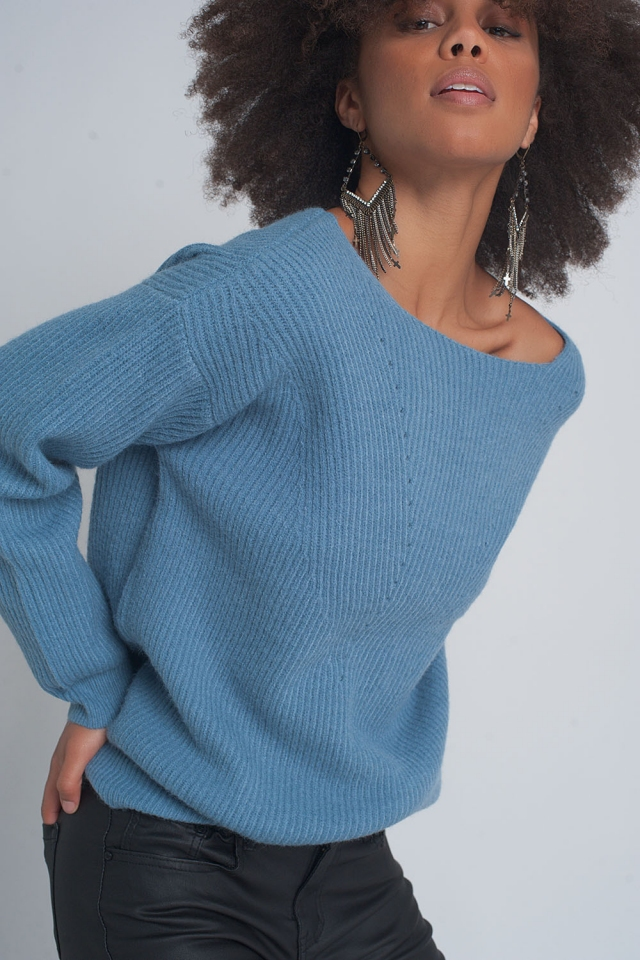 Textured sweater in blue