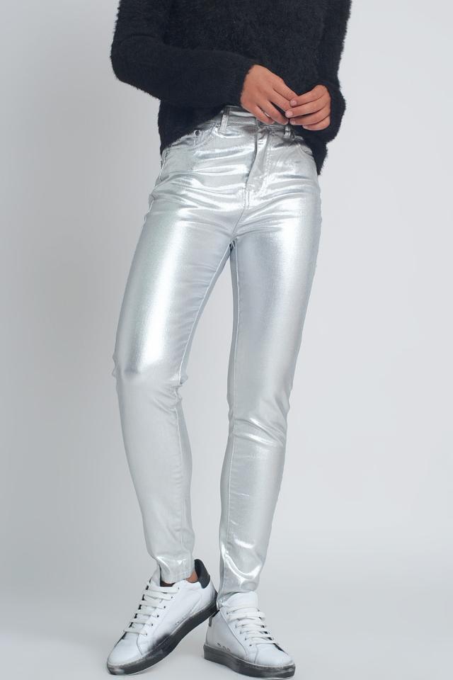 Silberfarbene Skinny Jeans in Metallic Optik