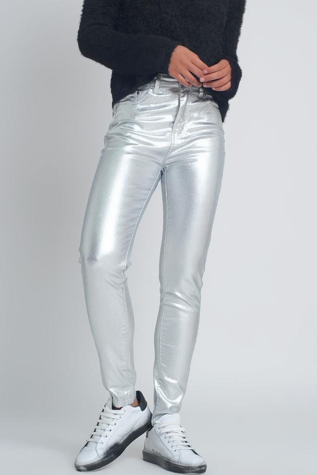 Skinny pants in silver metallic