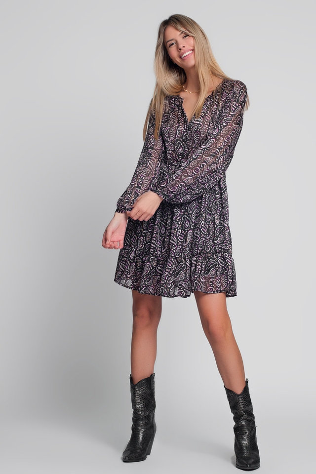 Mini smock dress in black paisley