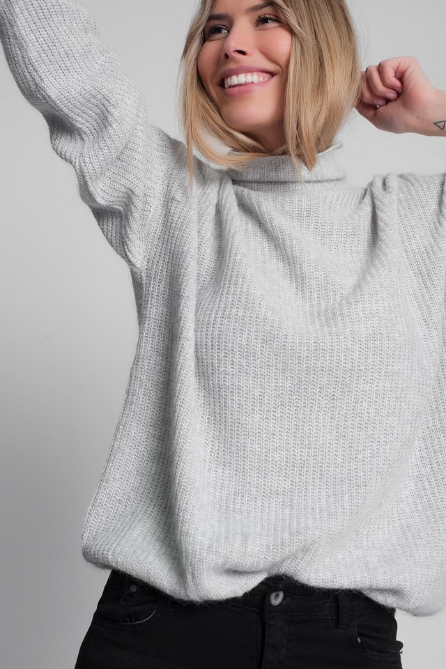 Slouchy roll neck jumper in light grey
