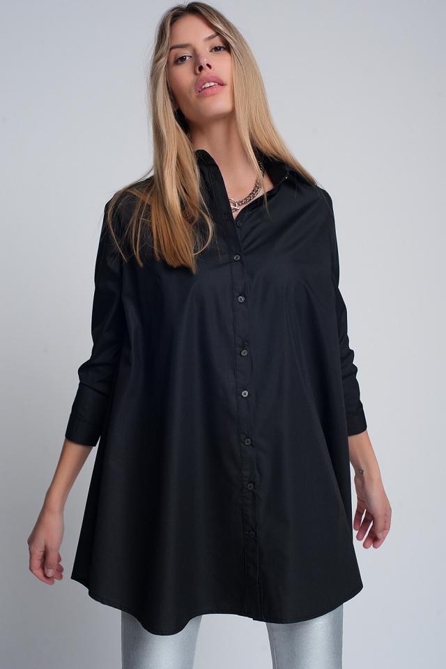 Schwarz popeline Oversize-Hemd mit Halsband