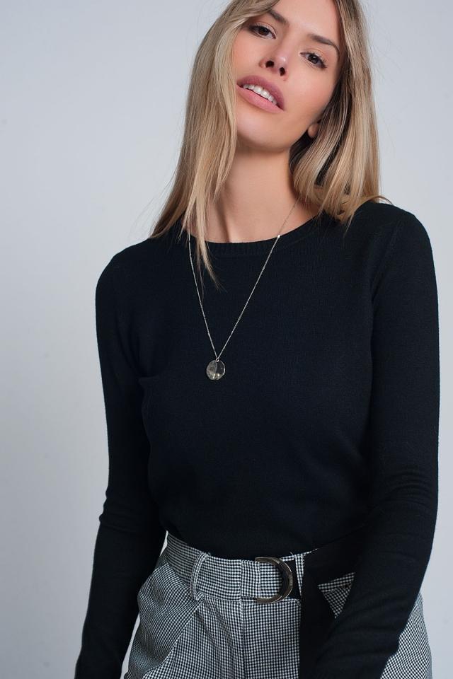 Black plain crew neck knit jumper