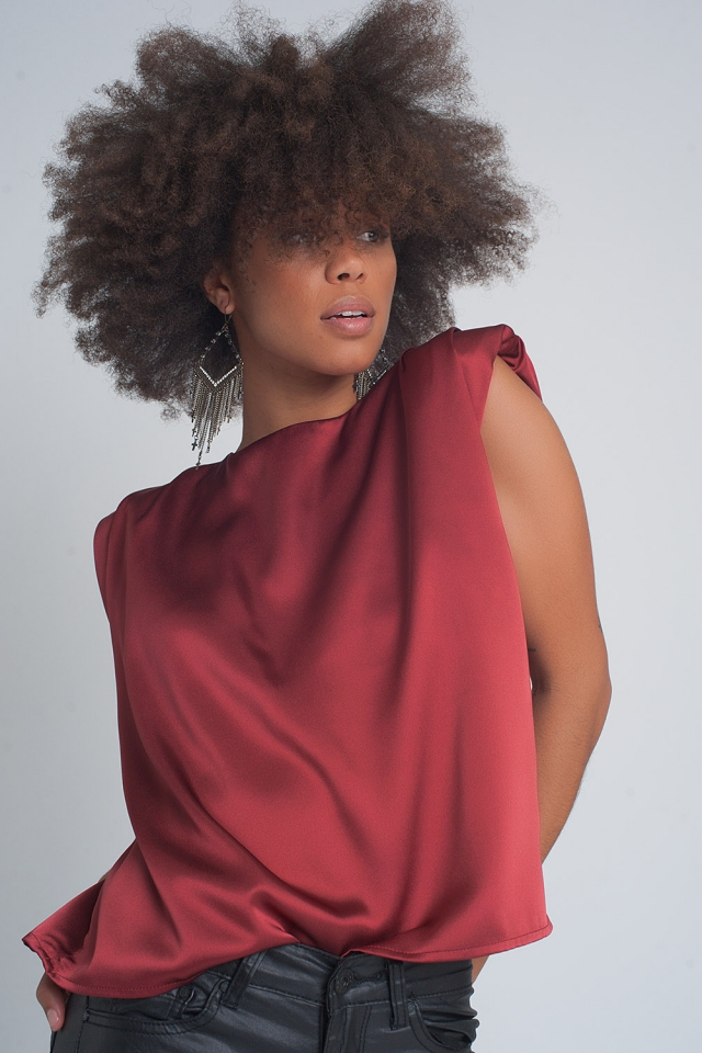 Gathered satin shoulder pad sleeveless top in red