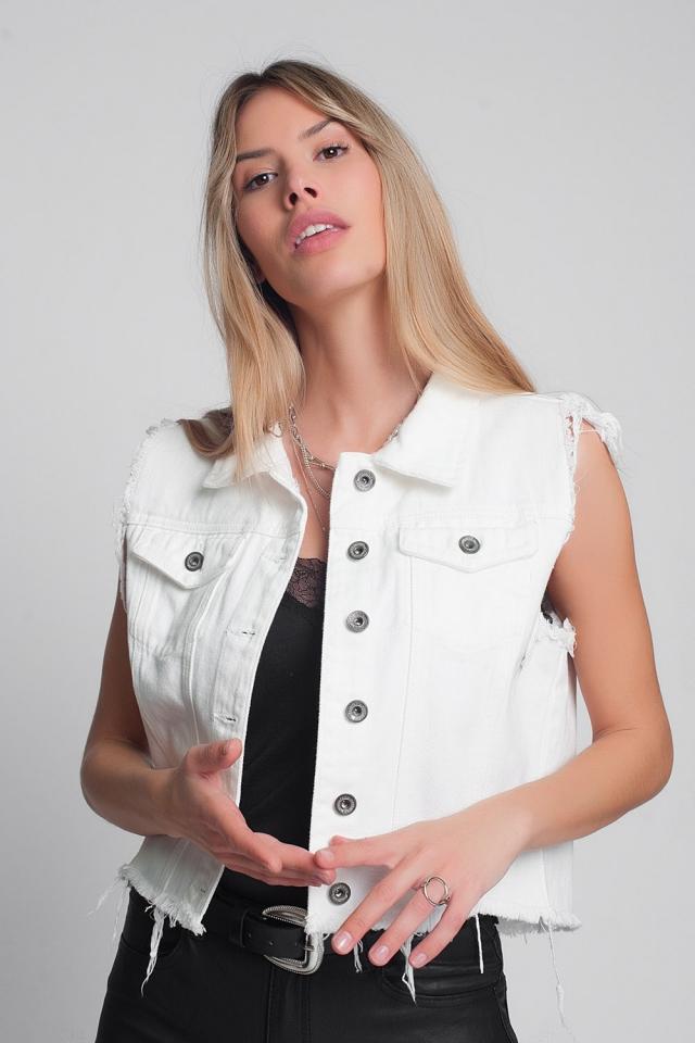 Denim vest in white