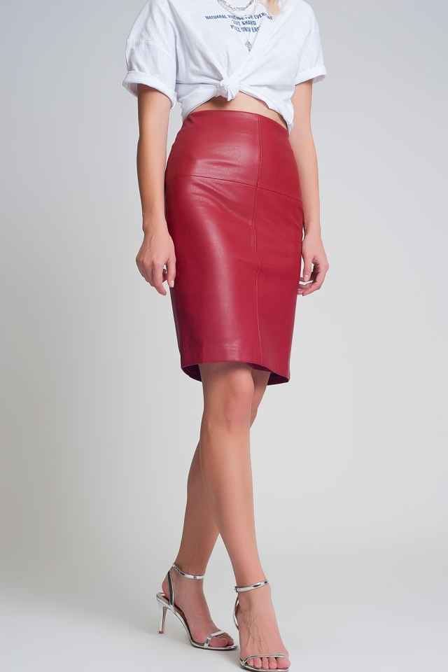 Red leather look mini skirt