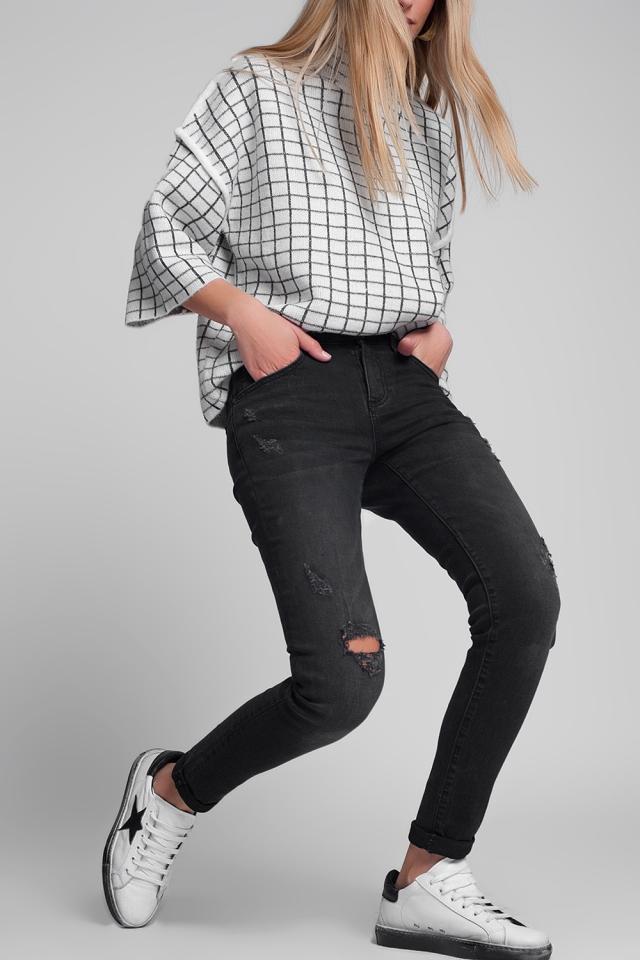 Superenge Jeans mit Zierrissen in verwaschenem Schwarz