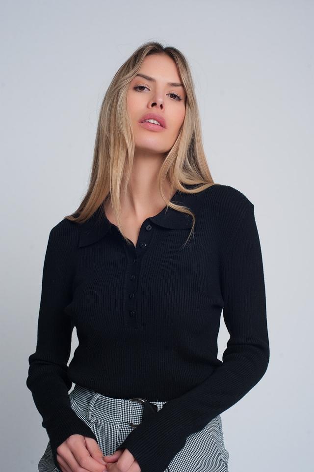 Schwarz Pullover mit Kragen und Knopfleiste
