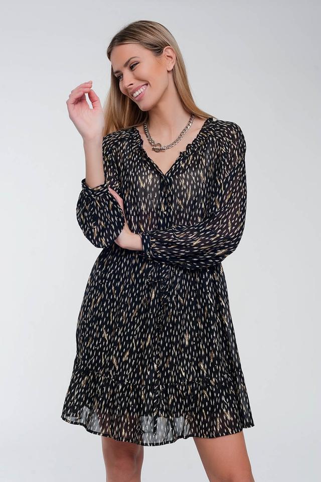 Metallic floral mini dress in black