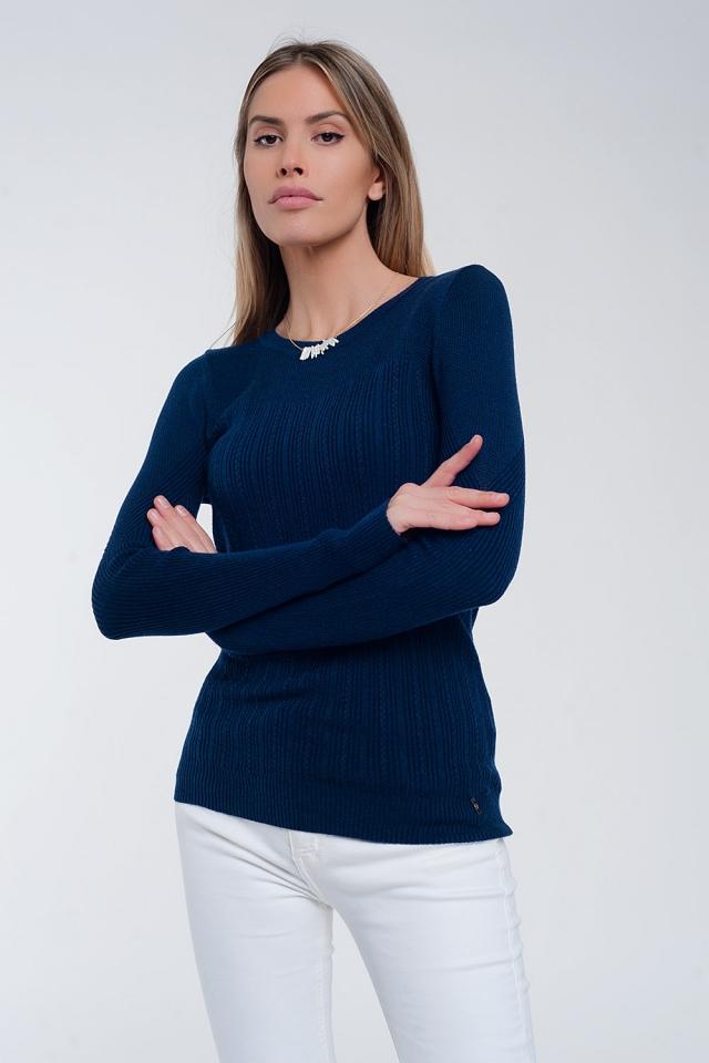 Geribbelde trui met ronde hals in blauwe marine