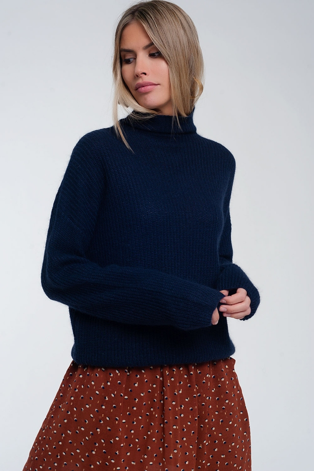 Slouchy roll neck jumper in Navy