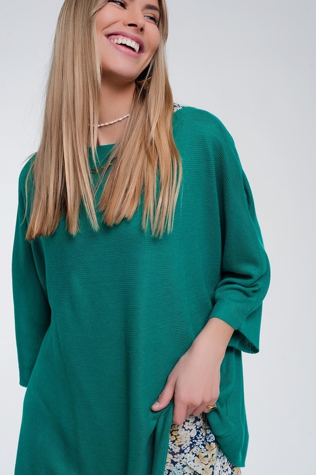 3/4 sleeve jumper in green