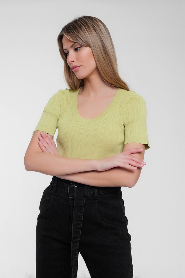 Scoop neck jumper with short sleeve in green
