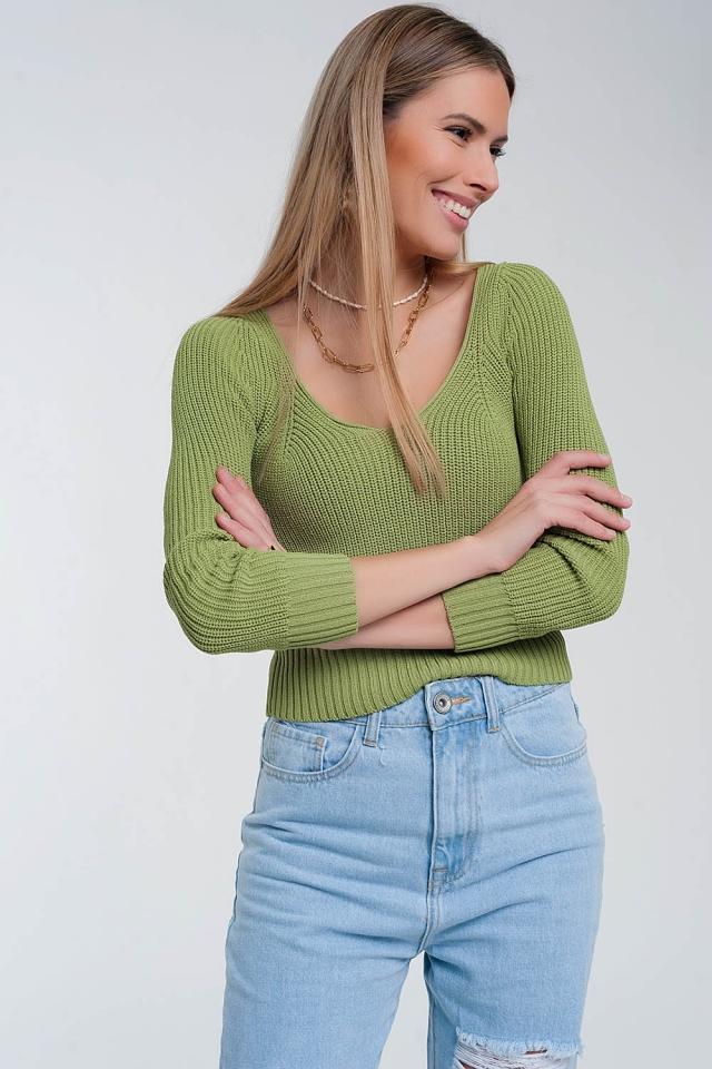 Crochet knit jumper in green