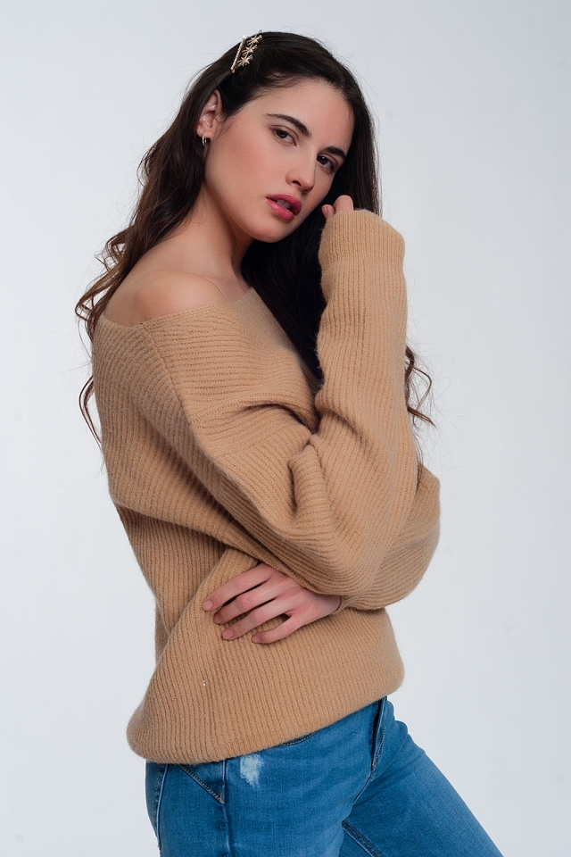 Textured sweater in beige