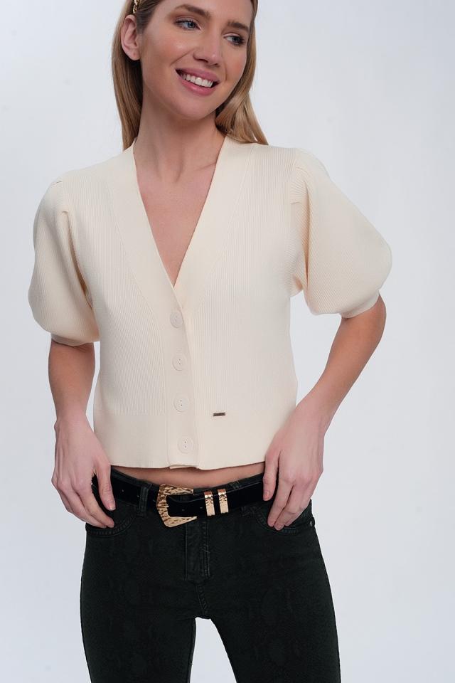 volume sleeve cardigan in cream