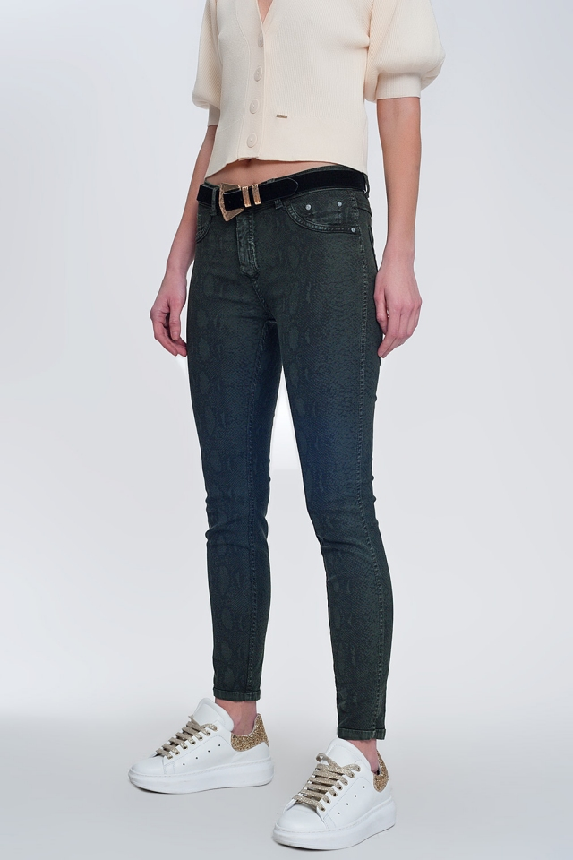 Khaki super skinny reversible pants with snake print