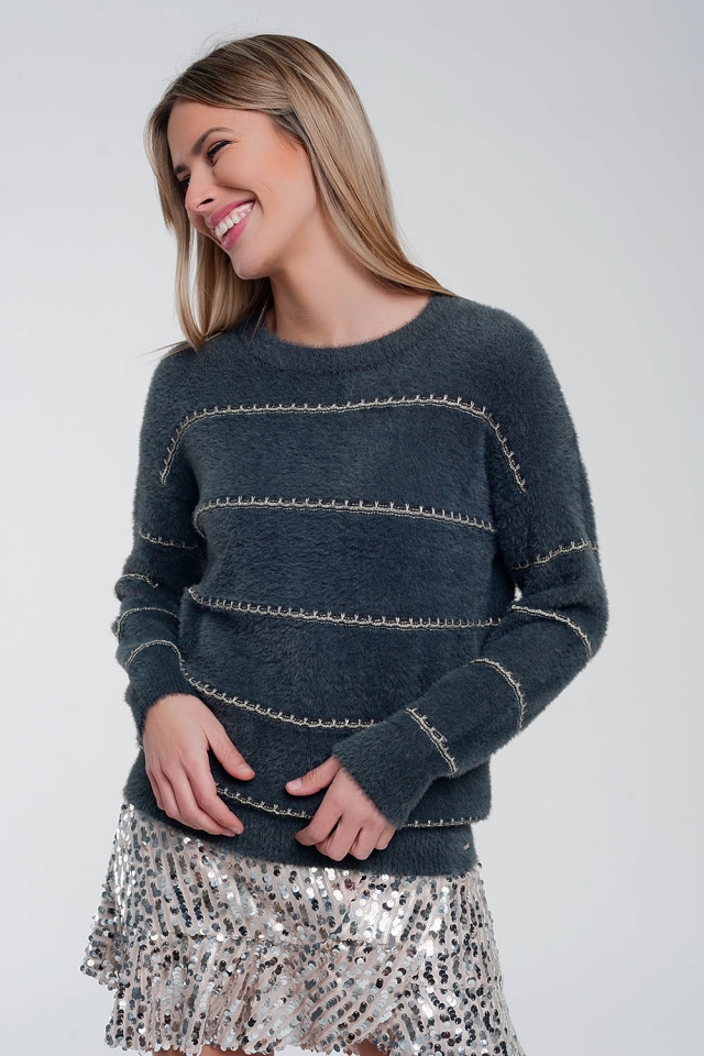 Fluffy textured knit jumper in gray twist