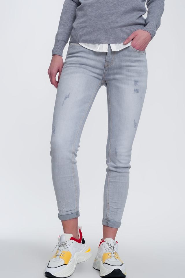 Enge Jeans gris délavé