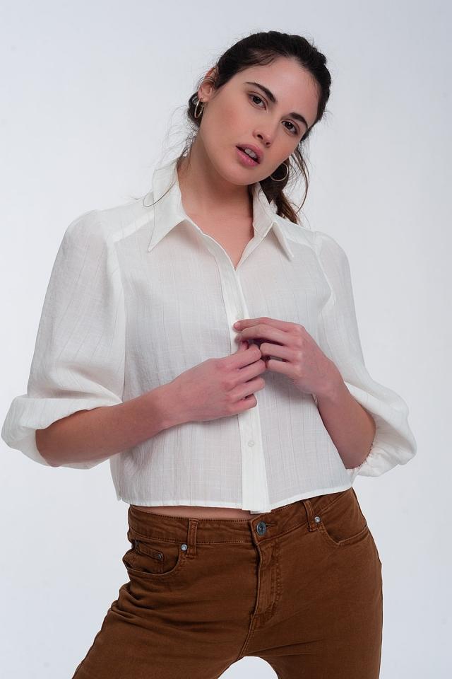 Kurzes Hemd mit Puffärmeln in Creme