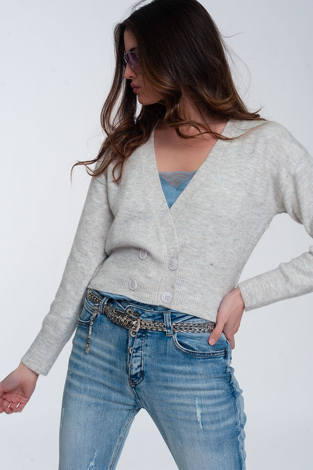 Button front cropped knit cardigan in light gray