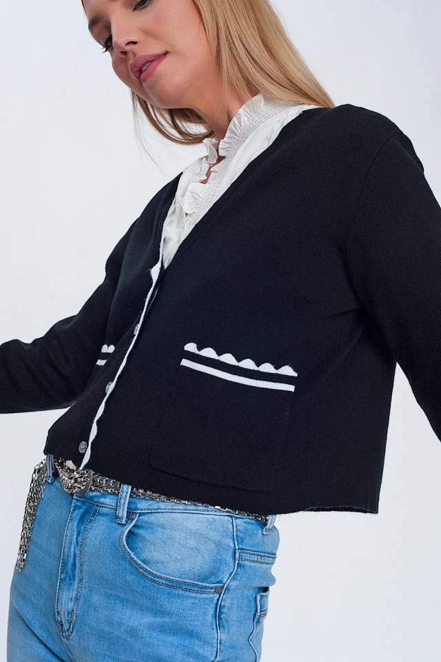 Contrast trim cardigan in black