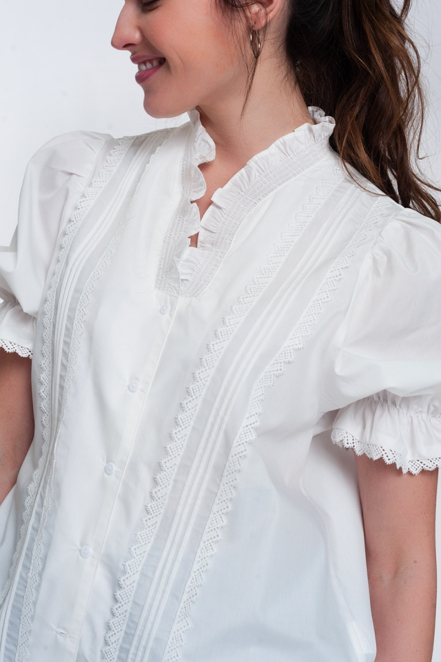 Puff sleeve frilled blouse