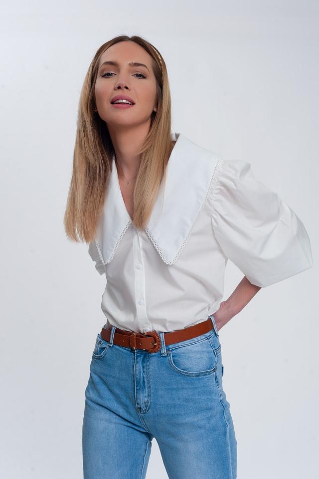 Weiß Shirt mit Oversize-Kragen