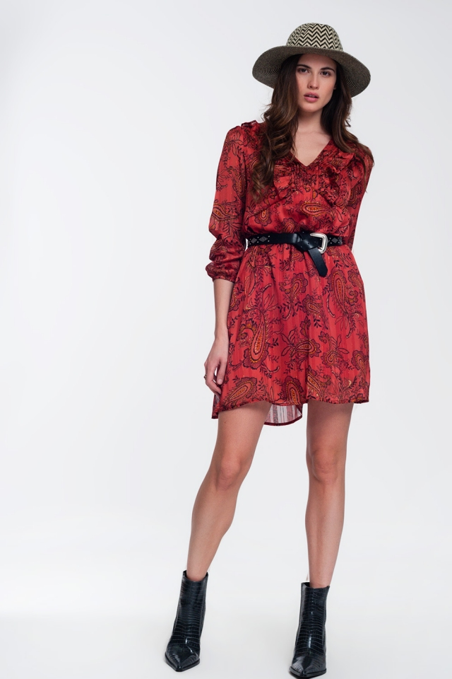 Paisley printed mini dress in red