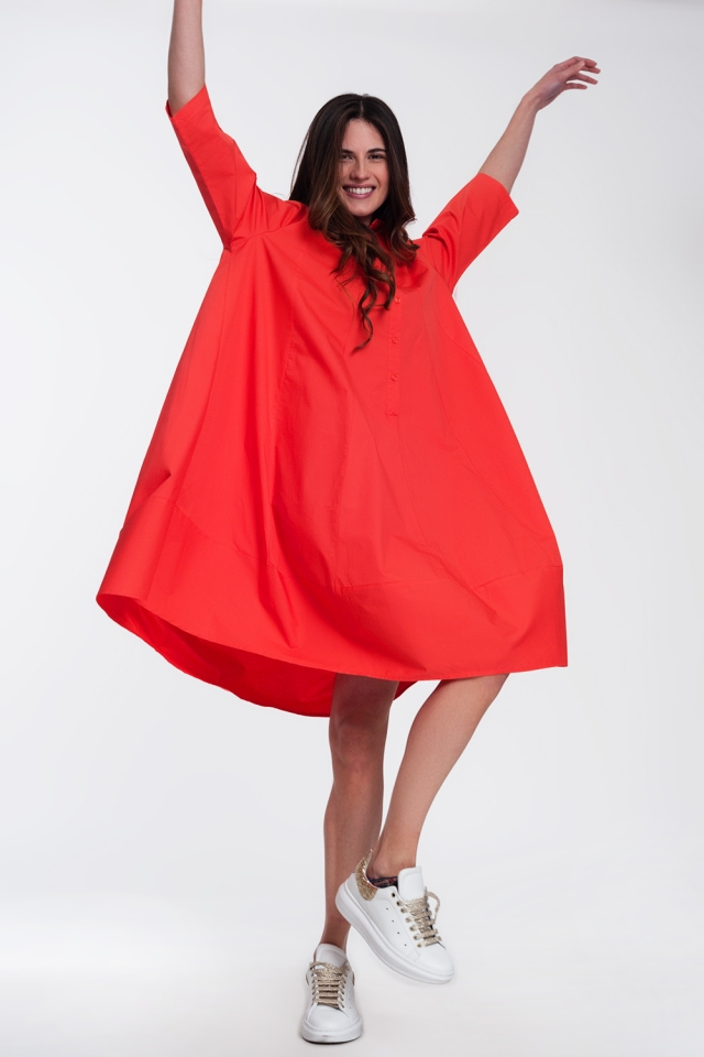 Oversized shirt dress in red