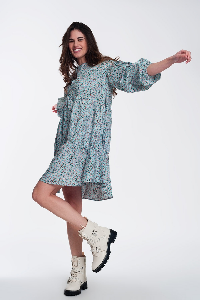 Mini smock dress with puff sleeves in floral