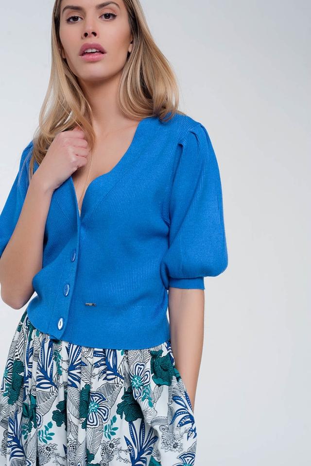 Volume sleeve cardigan in blue