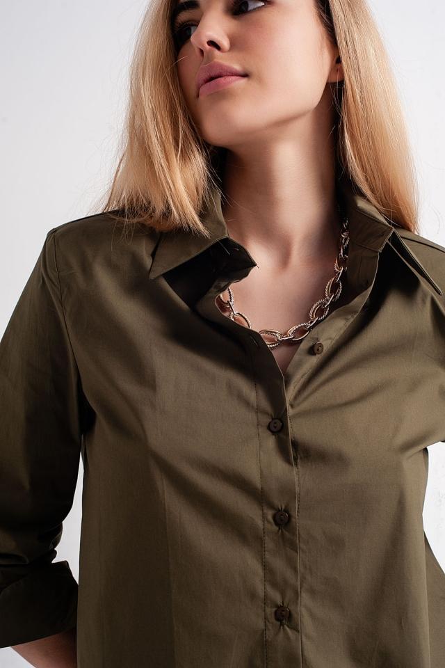 Langärmliges Hemd mit Schulterpolstern in khaki