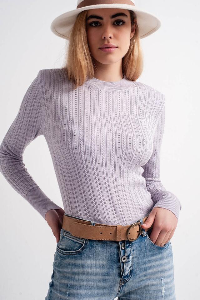 Pullover mit gepolsterter Schulterpartie in fliederfarben