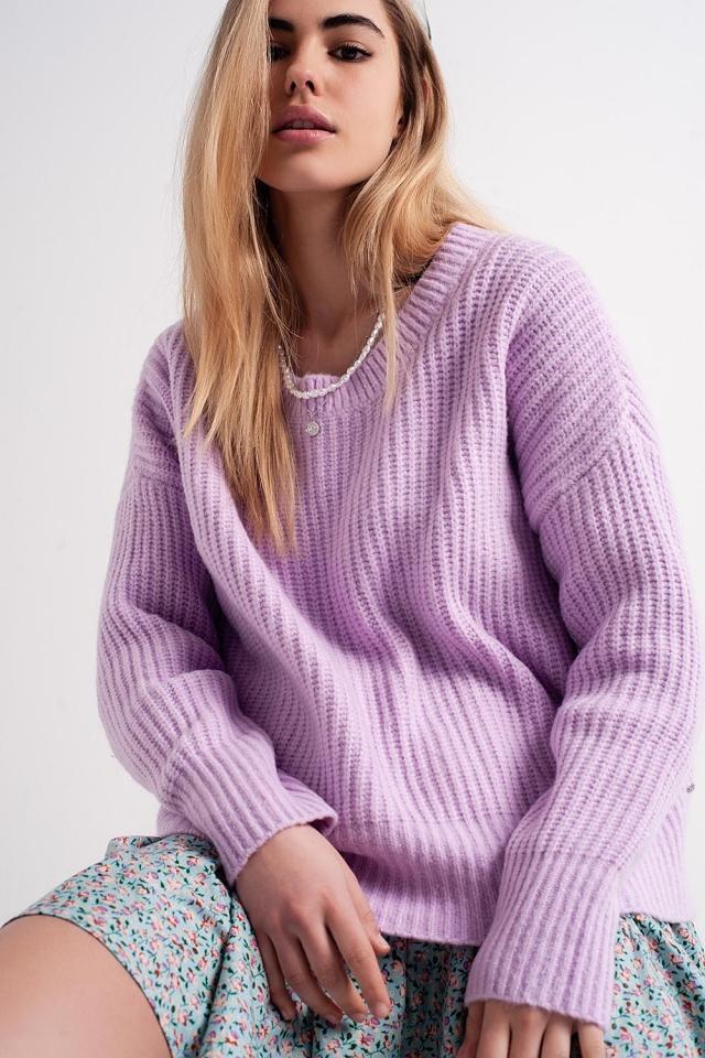 Purple round neck boyfriend sweater