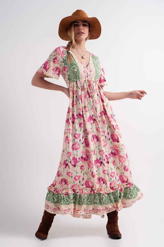 Maxi floral print maxi dress in pink