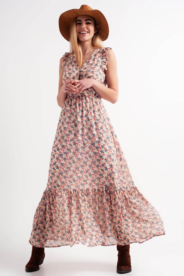 Long sleeveless pink printed dress