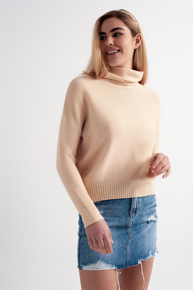Pullover in Beige mit Wasserfallausschnitt