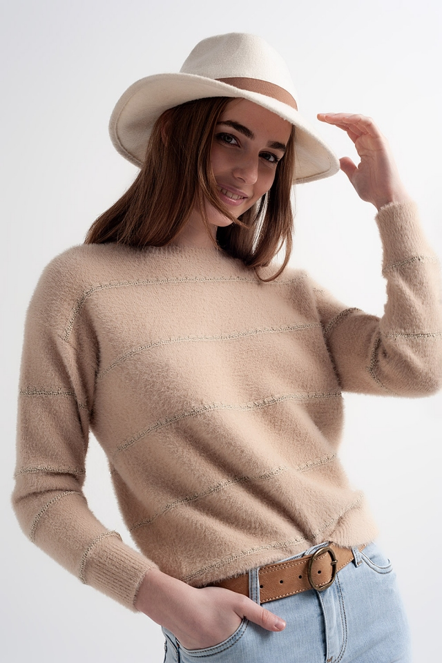 Fluffy textured knit jumper in beige