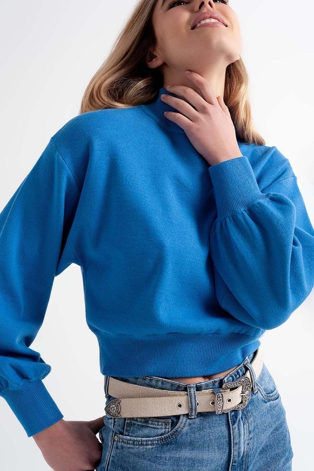Neck crop jumper in blue