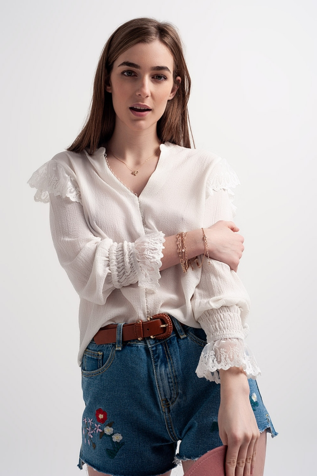 Volume sleeve blouse with cuff sleeve in oyster